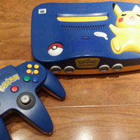 Pikachu pokemon Nintendo 64 system console n64 video game with controller