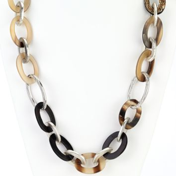 Horn Silver Links Long Necklace