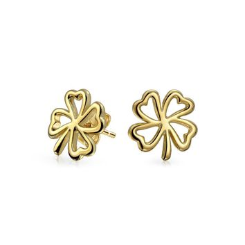 Heart Four Leaf Clover Stud Earrings 14K Gold Plated Sterling Silver