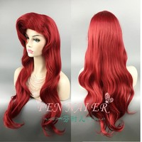 70cm The Little Mermaid Red Wig Body Synthetic Wavy Hair Cosplay Wigs Princess Ariel Wig Role Play Costume + Wig Cap