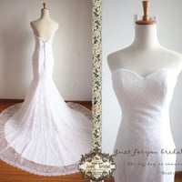 White sweetheart strapless mermaid chapel train formal lace wedding dress