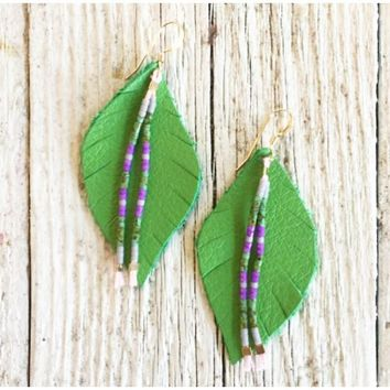 Three Little Indians - Small Green with Beads