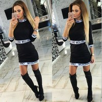 ''MOSCHINO'' Long Sleeve Bodycon Dress