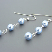 Sterling Silver Dangle Earrings with Blue Glass Pearls
