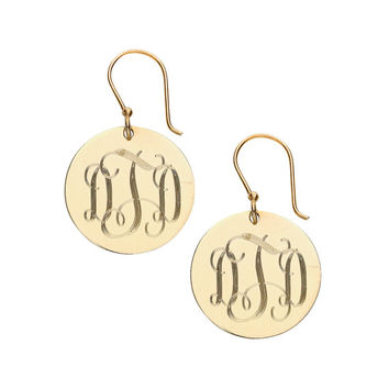 Silver Gold Monogram Earrings Initials Earrings Personalized Earrings Christmas French Wire Monogram Earrings Gift for Her