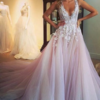 V-Neck Applique A-Line Prom Dresses,Prom Dress