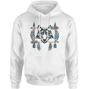 Native American Wolf And Feathers Southwest Adult Hoodie Sweatshirt