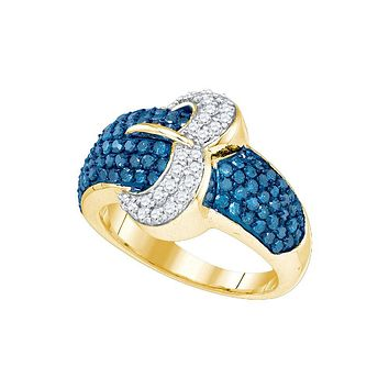 10kt Yellow Gold Womens Round Blue Colored Diamond Belt Buckle Cocktail Ring 1-3/8 Cttw