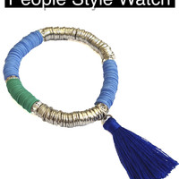 Tropical Tassel Bracelet - Shades of Blue