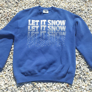 Vtg LEE Sweatshirt - Let It Snow - Ugly Sweater - Blue Sparkles - USA Made - Size M