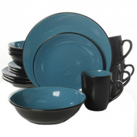 Vivendi 2 Tone 16pc Dinnerware Set Black/Turquoise