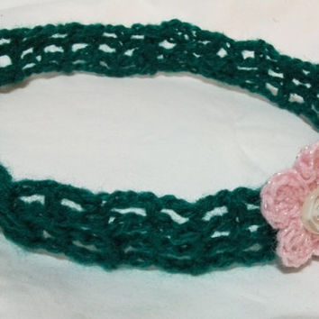 Crochet Headband Deep Green with Pink Flower and Button in MIddle Teens Women Crocheted