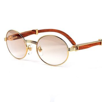 Gold plated frame wood sunglasses