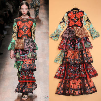 Beautiful Fashion Printing Slim Layered Horn Sleeve Women dress Temperament Autumn And Winter 2015 Runway In Europe And America