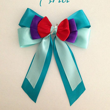 Disney inspired Ariel princess hair bow with dinglehopper