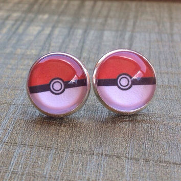 Pokeball earrings - Pokemon jewelry - 14mm