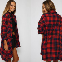 Long Red Flannel Blouse