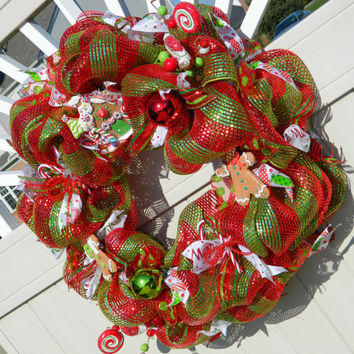 Christmas Wreath - Gingerbread and Candy Deco Mesh - Red and Green - Holiday Wreath