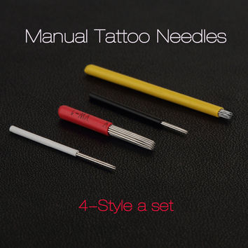 New Manual Tattoo Needles 4 Style Semi Permanent Makeup Handy Fog Pen Needle Eyebrow Body Professional Tools 2016 Hot