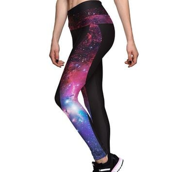 Purple Red Galaxy Printed Workout Breathing Leggings For Women
