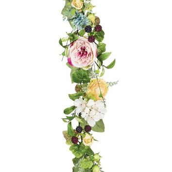 Silk Rose and Hydrangea Garland in Mixed Colors - 6' Long