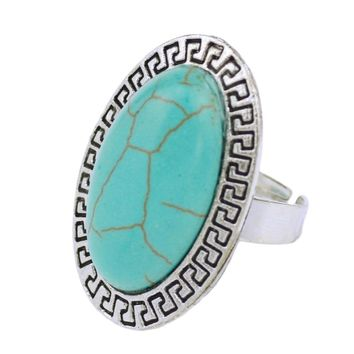 New Brand Jewelry Tibetan Silver Color  Native American Artificial Stone Ring for Women