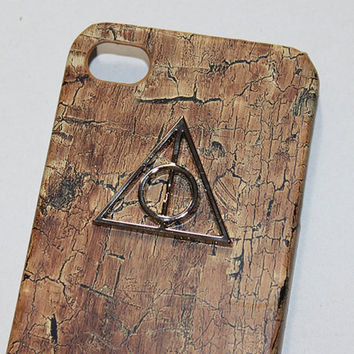 iphone 5 hard case Deathly Hallows wood PU by hgforeverstar