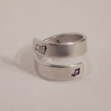 Book & Music Wrap Ring - Symbol Ring - Hand Stamped Gift Under 20