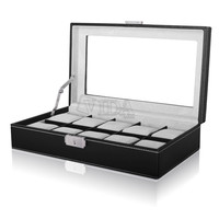 Slot Leather Wood Watch Box Display Case Organizer Glass Top Jewelry Storage