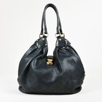 "Louis Vuitton Black Monogram ""Mahina"" Leather ""Large Hobo"" Bag"