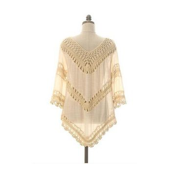 Crochet Hollow Loose Knitted Cardigan Sweater