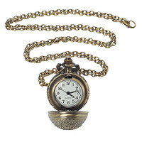Round Closed Pocket Watch Necklace