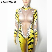 Female Nightclub Pole dance DJ performance costumes yellow leotard Elasit jumpsuit Tiger printing slim bodysuit stage show wears