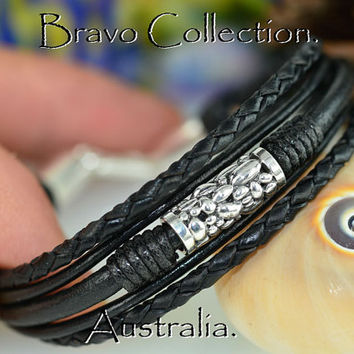 B-128 Aussie Made Sterling Silver & Leather New Wristband Bangle Men Bracelet