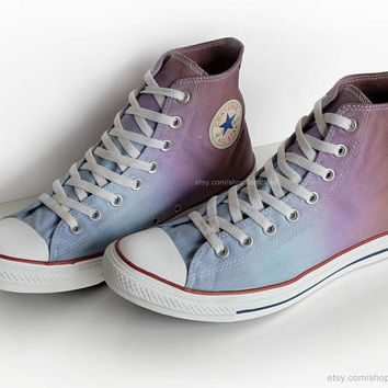 Ombré dip dye Converse All Stars, light blue, purple, brown, upcycled vintage sneakers, high tops, size EU 45 (UK 11, US Mens 11, Wo's 13)
