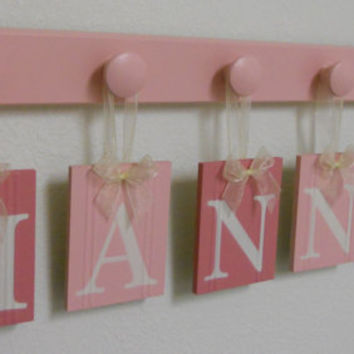 Baby Name Wall Hanging Sign Set Includes 6 Wooden Pegs Painted Pinks and Light Pink.  Custom Hanging Letters - HANNAH