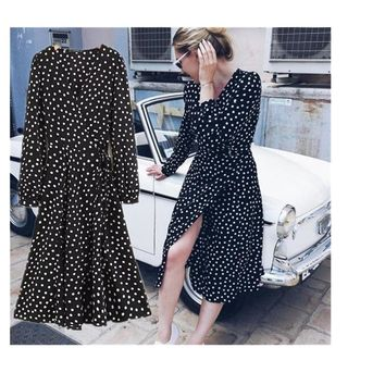 Toppies Women Autumn Women Polka Dots Chiffon Dress Winter Women Long Dress Vintage Corduroy Floral Dress