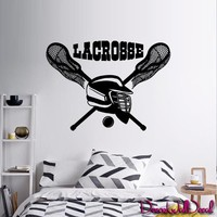 Wall Decal Lacrosse Helmet Sport Room Teens Kids Teen Mural Sticker Decor Art Gift Dorm Bedroom M1628