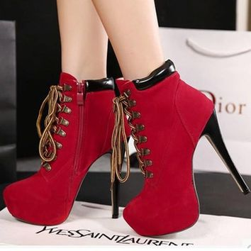 New Women Red Round Toe Stiletto Patchwork Zipper Fashion High-Heeled Martin Boots