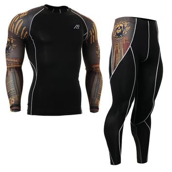 Mens Compression Sportsman Wear Male Shirts&Tights Set Skin-Tight Training MMA Workout Fitness Yoga Clothing Set CPD/P2L-B27