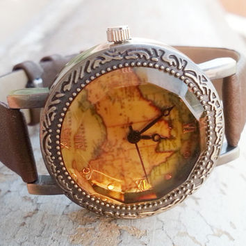 Watch 068: Leather Watch, Unisex Vintage Watch