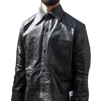 Mens Leather Shirt Black Alligator Crocodile Embossed Casual Nappa Sheepskin