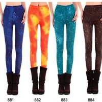 Blue Color Bright Series Galaxy Leggings [1027]