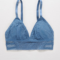 Aerie Padded Crochet Triangle Bralette, Blue Haven