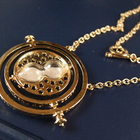 Harry pottery jewelry time turner chain Deathly Hallows necklace ship anchor charm witch pendant