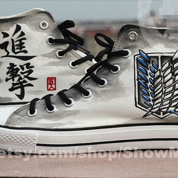 Attack on titan anime Custom Converse, Attack on titan hand painted shoes, Survey Legion anime  Attack on titan best shoes.