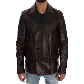 Brown Double Breasted Leather Jacket
