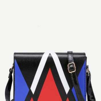 Geometric Print Black Chevron Handbag Blue/Red