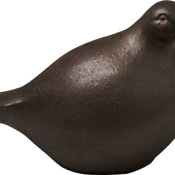 Large Ceramic Quail With Metallic Glaze