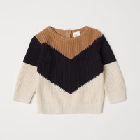Rib-knit Sweater - Dark beige/Color-block - Kids | H&M US
